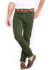 HRX Men Green Overdyed Trousers