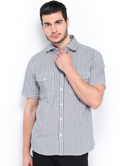 Scullers Men White & Navy Checked Slim Fit Casual Shirt