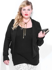 Curvy by D Muse Women Black Jacket
