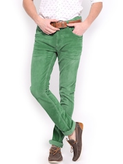 HRX Men Green Skinny Fit Washed Corduroy Jeans