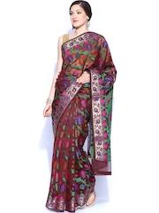Bunkar Maroon & Green Cotton Traditional Saree