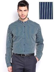 V Dot Men Navy & Green Striped Slim Fit Smart-Casual Shirt