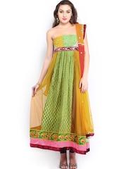 Vishal Prints Yellow & Green Semi-Stitched Dress Material