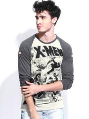 Kook N Keech Marvel Men Grey Melange Printed T-shirt