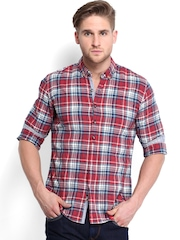 United Colors of Benetton Men Red & Navy Checked Casual Shirt