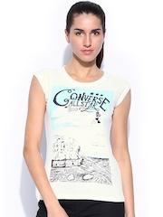 Converse Women White Printed T-shirt