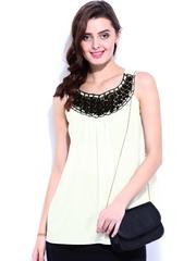 DressBerry Women Off-White Crochet Lace Top