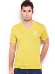 Playboy Men Mustard Yellow T-shirt