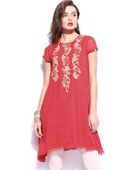Wills Signature by Ranna Gill Coral Red Embroidered Tunic
