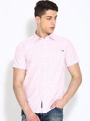 Pepe Jeans Men White & Peach Coloured Checked Casual Shirt