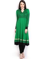 Ira Soleil Women Green & Black Printed Anarkali Kurta