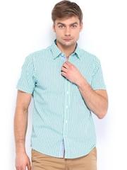 Pepe Jeans Men Blue Striped Semi Fit Casual Shirt