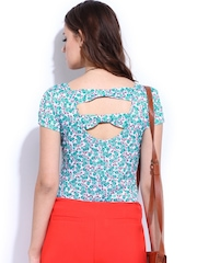 DressBerry Women White & Blue Printed Top