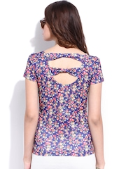 DressBerry Women Blue Printed Back Bow Top