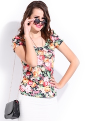 DressBerry Women Multicoloured Printed Back Bow Top