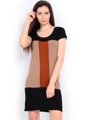 Wills Lifestyle Black & Brown Colour Block Sweater Dress