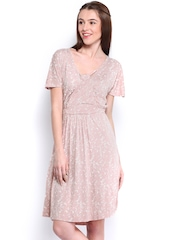 French Connection Light Pink & White Printed Fit & Flare Dress