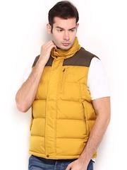 Timberland Men Mustard Yellow Padded Sleeveless Jacket