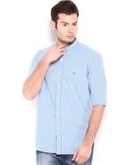 Timberland Men White & Blue Checked Slim Fit Gingham Meriden Casual Shirt