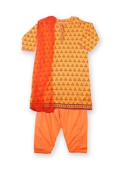 Girls Yellow & Orange Printed Salwar Kurta With Dupatta Biba