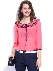 DressBerry Women Coral Pink Sheer Top