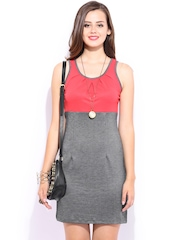 DressBerry Coral Red & Charcoal Grey Cling Berry Dress