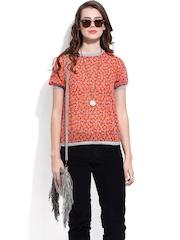 DressBerry Women Orange Printed Top