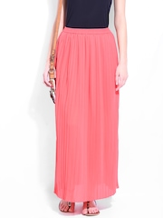 DressBerry Peach-Coloured Pleated Maxi Skirt