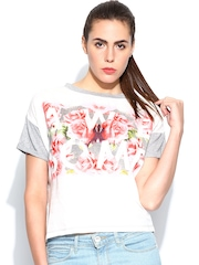 United Colors of Benetton Women Grey & White Printed Top
