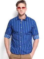 Flying Machine Men Blue Striped Casual Shirt