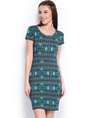 Jealous 21 Green & Blue Printed Sheath Dress