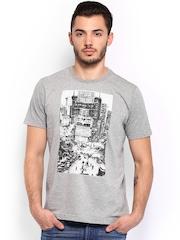Arrow Sport Men Grey Melange Printed T-shirt