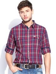 Roadster Men Maroon & Navy Sutil Checked Shelby Slim Fit Casual Shirt