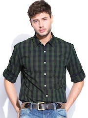 Roadster Men Green & Black Vettel Checked Shelby Slim Fit Casual Shirt