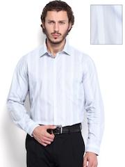 Van Heusen Men Grey Striped Custom Fit Formal Shirt