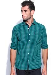 Scullers Men Green & Blue Checked Slim Fit Casual Shirt