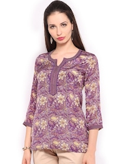 BIBA OUTLET Women Purple Printed Crepe Kurti