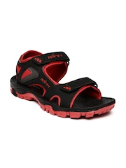 Spinn Men Black Blaze Sports Sandals