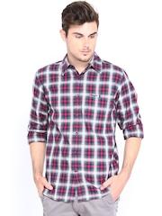 Wrangler Men Grey & Red Checked Casual Shirt
