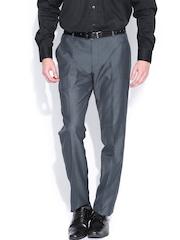 John Miller Men Dark Grey Slim Fit Formal Trousers