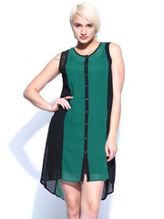 Jealous 21 Green & Black High-Low Dress