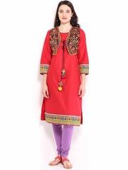 BIBA Women Red Kurta with Waistcoat