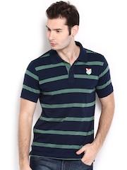 HRX Men Navy Blue & Green Striped Polo T-shirt
