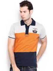HRX Men Navy & Orange Striped Polo T-shirt