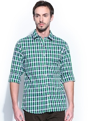 Scullers Men White & Green Slim Fit Smart-Casual Shirt