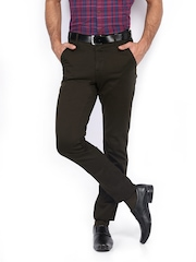 Scullers Men Coffee Brown Slim Fit Smart-Casual Trousers
