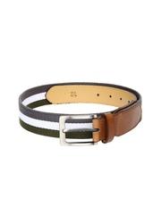 Roadster Men Grey & Green Striped Belt
