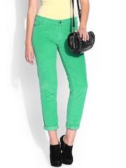 DressBerry Women Green Corduroy Trousers