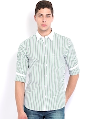 Scullers Sport White Striped Slim Fit Casual Shirt