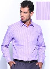 John Miller Purple & White Striped Tailored Fit Smart Casual Shirt